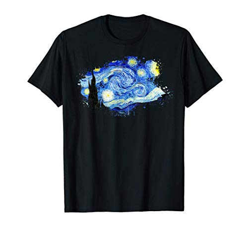 Van Gogh Noche Estrellada Famoso Arte Elegante Diseño Camiseta