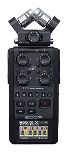 Zoom H6 All Black (2020 Version) 6-Track Portable Recorder, Stereo Microphones, 4 XLR/TRS Inputs, SD Card, USB Audio Interface, Battery Powered (Podcasting and Music)