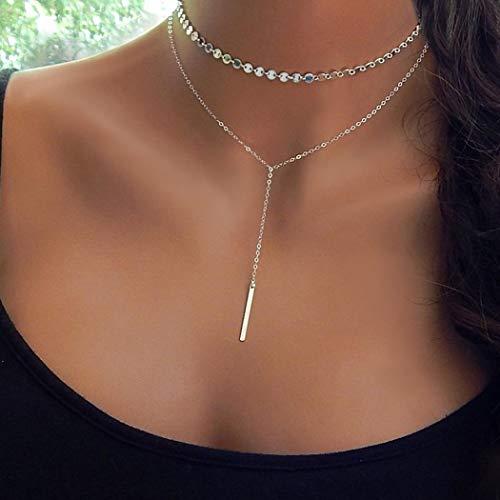 Yienate Halskette für Frauen Teens Metall Stab Doppellagige Halskette Kupfer Pailletten Quaste Halskette Charms für Mädchen (Silber)
