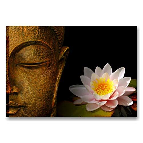 Quadri L&C ITALIA Buddha Zen 3 - Quadro Bagno Moderno Zen 70 x 50 Stampa su Tela Canvas con Fiore di Loto per Centro Estetico Spa Camera da Letto