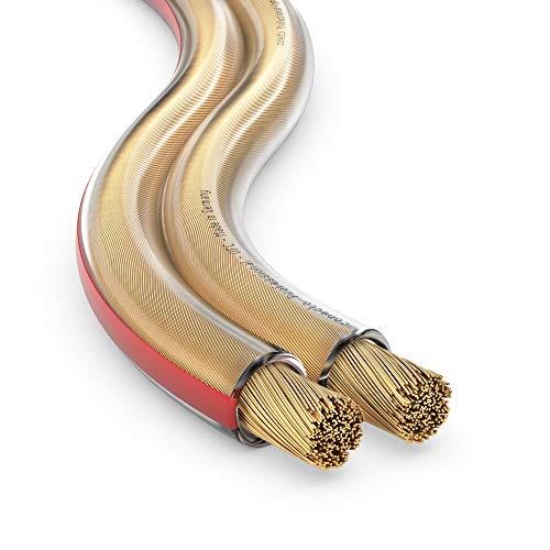 conecto Lautsprecherkabel OFC Professional UltraFlex 2x4,0mm² Kabel Querschnitt (99,9% OFC Vollkupfer 511x0,10mm Litze) HiFi Audio Lautsprecher Boxenkabel, 10m, transparent