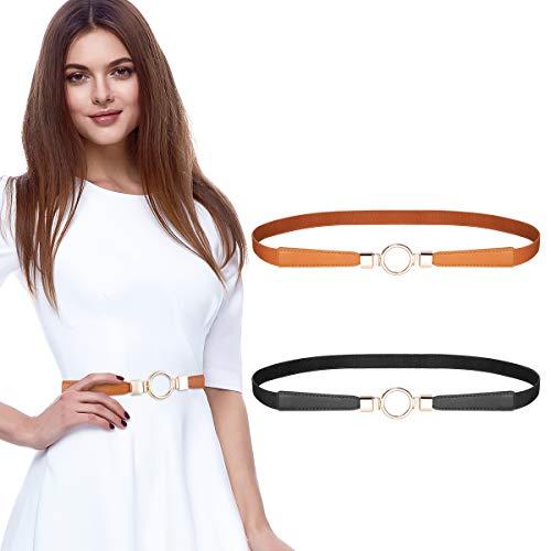 MELLIEX 2 Stücke Damen Dünner Gürtel, Elastischer Schmaler Taillengürtel Metall Haken Taillen Gürtel für Kleid