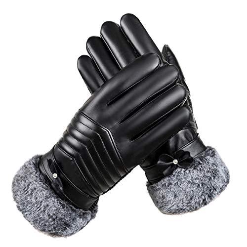 LassZone Damen Touchscreen-Handschuhe aus Kunstleder mit Kaschmir gefüttert und Manschetten für Outdoor-Aktivitäten, Motorrad, Winter, warme Fäustlinge, Damen, Plush Cuff Black, Einheitsgröße