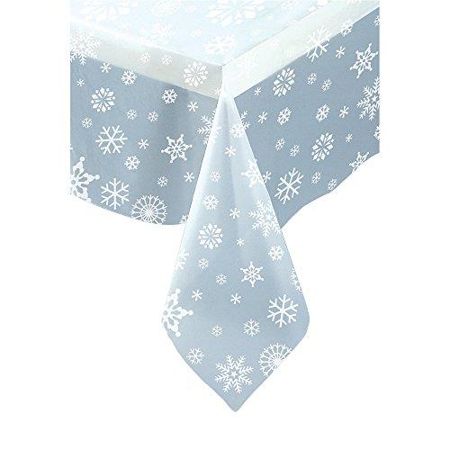 Unique Party 51002 Tischdecke, Kunststoff, Transparent, Weihnachten, Schneeflocken, 213 cm x 137 cm, weiß, Amerikanische Größe