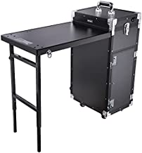 Byootique Rolling Manicure Table Nail Desk Workstation with 4 Drawers Mirror Speaker Makeup Salon Travel Cosmetic Trolley Storage Organizer Black