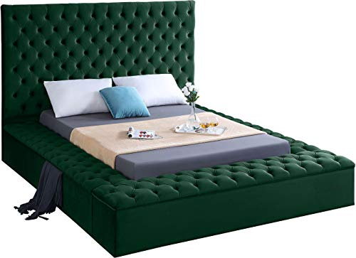 Meridian Furniture Bliss Collection Modern   Contemporary Velvet Upholstered Bed with Deep Button Tufting and Storage Compartments in Rails and Footboard, Green, Queen