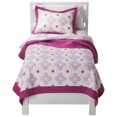 Circo Pink Flower Dot 3 Pc Quilt and Sham Set Size Full/Queen