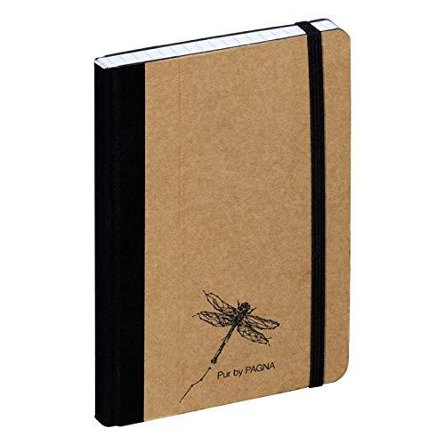 Pagna Notizbuch A6 Pur, hochwertiger Kraftpapiereinband und Prägung, 192 Seiten kariertes Papier
