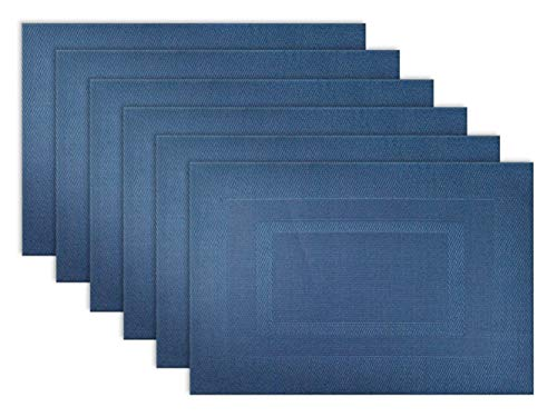 DII Everday, Easy to Clean Indoor/Outdoor Woven Vinyl 13x18' Double Border Placemats, Nautical Blue, Set of 6