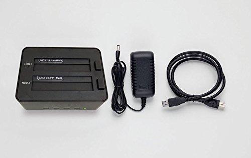 玄人志向SSD/HDDスタンド2.5型&3.5型対応USB3.0接続PCレスでクローン/HDD内データを2台同時に完全消去可能KURO-DACHI/CLONE+ERASE/U3