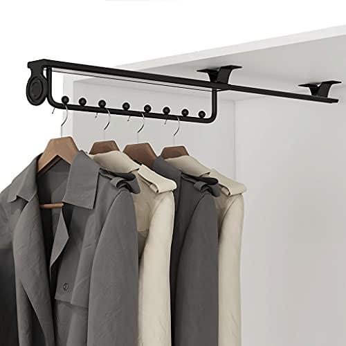 Kleiderstange ausziehbar Hochleistungs-Kleiderbügel für Kleiderschrank, ausziehbare Kleiderstange, Kleiderbügel matt lackiert (Schwarz) (Size : 25cm/9.8inch)