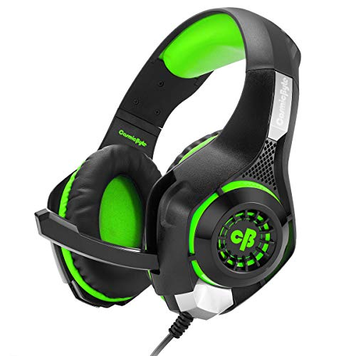 Cosmic Byte GS410 Headphones with Mic and for PS4, Xbox One, Laptop, PC, iPhone and Android Phones (Black/Green)
