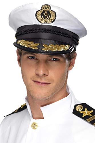 SMIFFYS Cappello da Capitano, Bianco con Dettagli Dorati