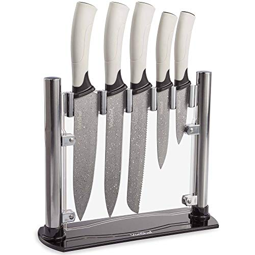 VonShef 5 Piece Marble Knife Block Set with Stand ? Stainless Steel Non-Stick Blades with Ergonomic, Soft Touch Handles