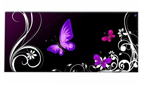 Silent Monsters Mauspad Größe XXL (900 x 400 mm) Mousepad Groß Design: Purple Butterfly - Vernähter Rand geeignet für Office und Gaming Maus sowie Tastatur