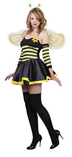 erdbeerclown Damen Fashion Bienenkostüm mit Blümchen, S/M, Gelb