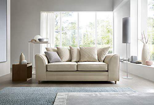Abakus Direct Chicago Corner Sofa Settee Right or Left in Cream Water Repellent Velvet Fabric (3 Seater)