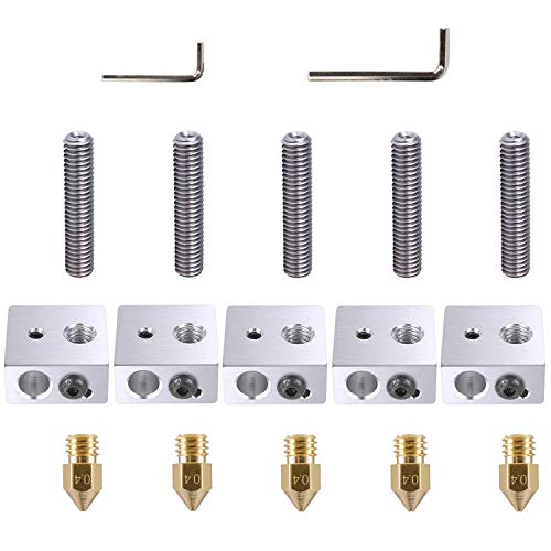 ExcelFu 5pcs 30MM Length Extruder 1.75MM Teflon Throat Tube and 5pcs 0.4MM Brass Extruder Nozzle and 5pcs Heater Blocks Hotend for MK8 Makerbot Anet A8 3D Printer (Bonus: 2pcs hex Key Wrenches)