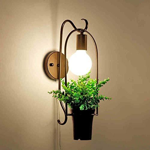 Lámpara Lámpara de pared Hierro 24 * 56 * 26cm Sala de estar nórdica Dormitorio Habitación de los niños Personalidad Planta creativa Espejo de noche Faros delanteros. 1