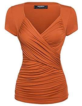 Zeagoo Women s Cross-Front Sexy V Neck Ruched Cap Sleeve Blouse,Orange,Large