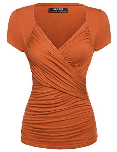 Zeagoo Women's Ruched Side-Shirred Nursing Top Short Sleeve Breastfeeding Tee Shirt,Orange,Small