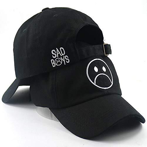 LENGXDR Cap Sad Boy Baseballmütze Mode Papa Hut Weinen Gesicht Baumwolle Hut Hip Hop Kappen Headwear Black Skateboard Hats Lässige Mütze Black