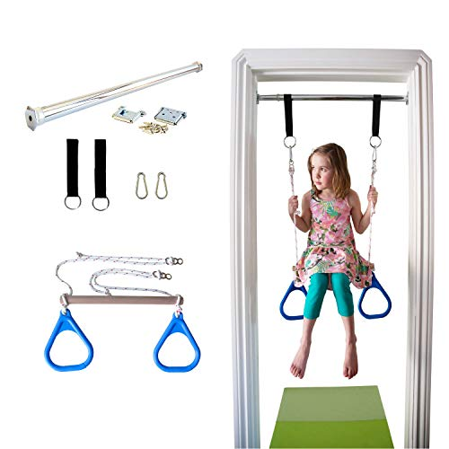 Indoor Swing by DreamGYM - Trapeze Bar and Gymnastic Rings Combo for Doorway Gym - Blue