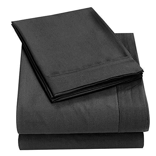 Zdj Suave Conjunto de sábanas de 4 Piezas de 4 Piezas, láminas de Bolsillo Profundo de Microfibra + sábana de Cama + 2 Fundas de Almohadas. Comodidad y suavidad. Se Ajusta a la Piel