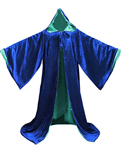 LuckyMjmy Velvet Wizard Robe with Satin Lined Hood and Sleeves (Royal Blue-Turquoise)