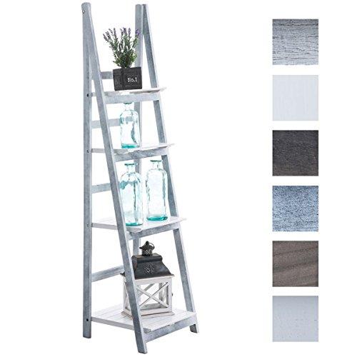 CLP Estantería en Escalera Alma de Madera I Estantería Decorativa con 4 Estantes I Estantería Librería Plegable I Color: Blanco-Gris