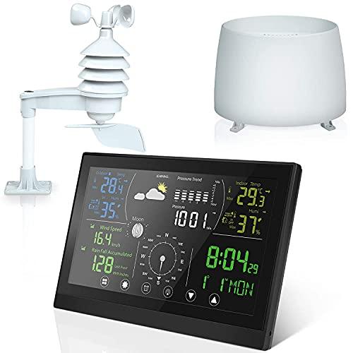 Stazione Meteo con Sensore Esterno, Stazione Meteo Scientific con Touch Screen a Colori, Multifunzione Come Sveglia, Pluviometro, Previsione del Tempo, Data, Temperatura, Umidità