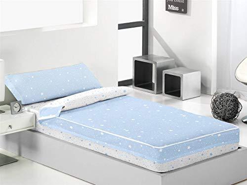 Lanovenanube - Saco nórdico KALO Cama 90 - Color 850 Azul/Blanco Sin Relleno