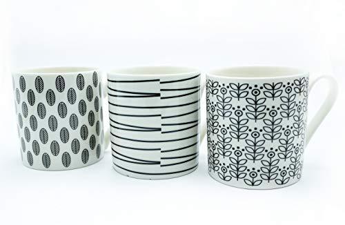Other Unbranded p1160119 graduée Tasse en Porcelaine, Pois et Rayures, Noir/Blanc, 12 oz, Lot de 12