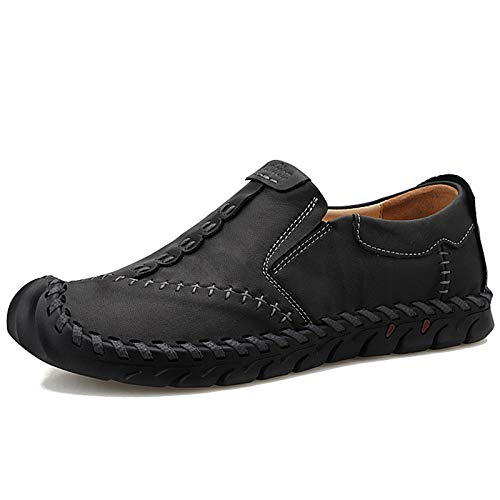 BAQI Men's Hand Sewn Shoes Outdoor Flat Heel Travel Men's Shoes for Fall Winter 2020 Fashion Peas Shoes Men's Leather Shoes,black,41