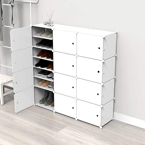 SIMPDIY Portable Shoe Rack, 3 * 8 Tier Shoe Storage Cabinet 24 Plastic Shoe Shelves Organizer for Living Room Entryway Hallway and Cloakroom (White&Black)