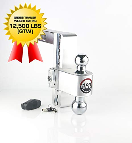 "Weigh Safe 180 HITCH CTB8-2 8"" Drop Hitch, 2"" Receiver 12,500 LBS GTW - Adjustable Aluminum Trailer Hitch Ball Mount & Chrome Plated Combo Ball, Dual Pin Keyed Lock"