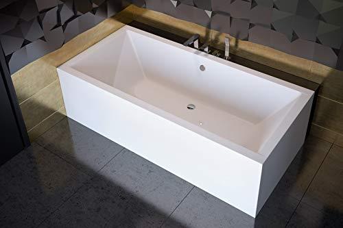 ECOLAM Badewanne Wanne Rechteck Quadro Design Acryl weiß 170x75 cm + Schürze Ablaufgarnitur Ab- und Überlauf Automatik Füße Silikon Komplett-Set, Rechteckbadewanne für zwei