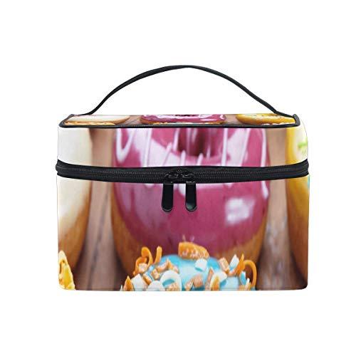 Sac de maquillage Donut avec sac cosmétique au citron rose Grand sac de toilette portable pour les femmes/filles Voyage