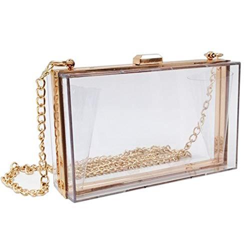 WEDDINGHELPER Women Crossbody Shoulder Bag Evening Clutch Purse Acrylic Clear Jelly Box with 2 Removable Chain Purse