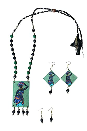 Aarav Art's Traditional Fully Handcrafted Necklace and Two Ear Ring Set for Women(Color:Multi,Size:Free)