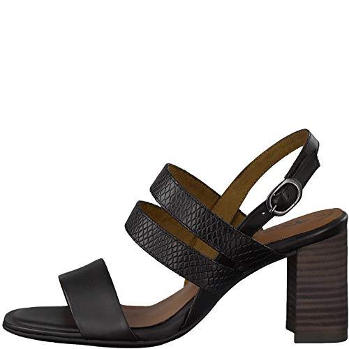 Tamaris 1-28317-24 Damen Slingback Sandalen Sandaletten Leder, Größe:39 EU, Farbe:Schwarz