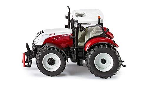 Siku 3283, Steyr 6230 CVT Traktor, 1:32, Metall/Kunststoff, Abnehmbare Fahrerkabine, Rot/Weiß