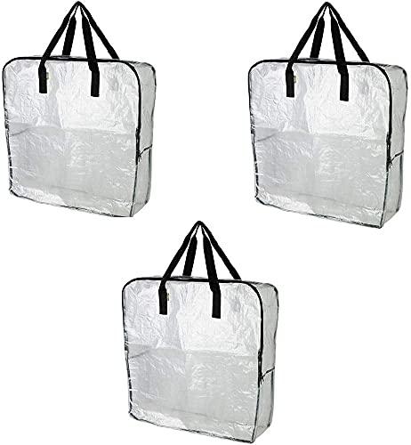 IKEA DIMPA 3 bolsas de almacenamiento extra grandes, transparentes y resistentes, bolsas de almacenamiento de protección contra la humedad de la polilla