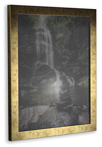 Orion Deluxe Bilderrahmen Posterrahmen 60x80 cm Farbe und Verglasung wählbar Gold Antik 80x60 cm mit weisser Rückwand und klarem Kunstglas 1 mm