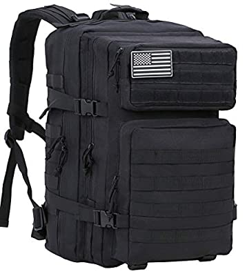 Luckin Packin Tactical Backpack,Military Backpack,Molle Bag 45 Liter Large Black