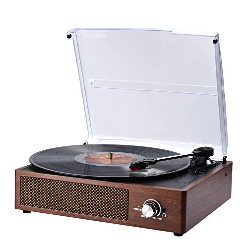 Record Player, SKEVONO Portable 3 Speed Vinyl Turntable, Bluetooth Vintage...