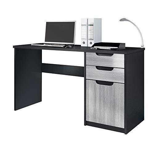 Vladon Escritorio Mesa para computadora Mueble de Oficina Logan, Cuerpo en Negro Mate/frentes en avola Antracita