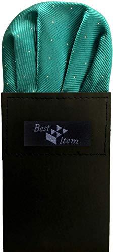 (ベストアイテム) Best Item カンタン ポケットチーフ ホルダー付き メンズ ドレスアップ チーフ フォーマルシーン パーティー 結婚式 水玉 (20 ミントグリーン)