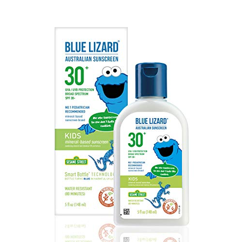 BLUE LIZARD KIDS Mineral Sunscreen with Zinc Oxide, SPF 30+, Water Resistant, UVA/UVB Protection with Smart Bottle Technology - Fragrance Free, Reef Safe Bottle, Unscented, 5 Fl.Oz
