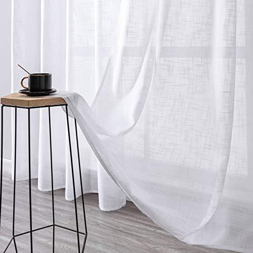 MRTREES Gardinen kurz 2er-Set Leinen Vorhang im Modernen Stores Gardinen Schals Weiß 145×140 (H×B) für Wohnzimmer Schlafzimmer Kinderzimmer